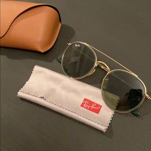 hold&green round double bridge ray bans